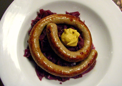 Homemade Brats with Rotkohl (German Sweet & Sour Red Cabbage)