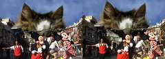 3D, i iz cheezburger and pickle in side - Mickey Mouse, Minnie Mouse and Wizard flee the Giant Cat, Aghh, Running, Main Street U.S.A., Disneyland®, Anaheim, California, 2008.11.14 13:21