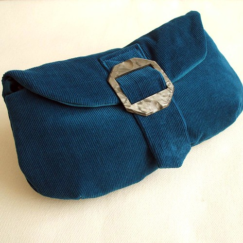 teal and slate grey clutch purse