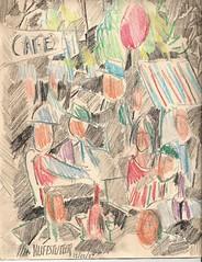 CRAYOLA SKETCH OF CAFE CROWD (roberthuffstutter) Tags: new head crayon crayolas outdoorcafe cafelife justposted worldzbestfotoz huffstutter withoutemotion nottheparisirecall parischanged parisianpartisans impressionofexpressionism