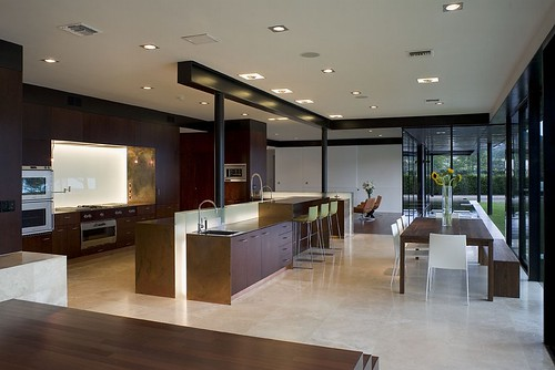 Modern House Kitchen austin modern lake house, kitchen towards living room - a photo on