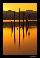 Derwent Water Sunset. (numanoid69) Tags: uk longexposure sunset england orange lake water reflections nationalpark lakedistrict cumbria derwentwater posts reflexions lightroom nikond200 bej ubej prideofengland