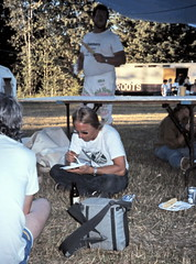 gm_12723 Picnic dinner at Dome Creek Reunion BC 1989 (CanadaGood) Tags: blue people white canada color colour beer analog person friend bc britishcolumbia farm slidefilm 1989 eighties seattlefilmworks domecreek canadagood slidecube