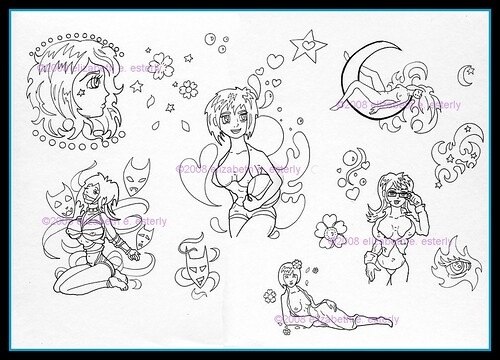 Tattoo Flash: Elizabeth (Set) · Illustration (Group) · All things Anime
