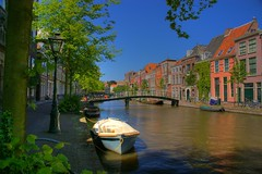The silent canal (Johan_Leiden) Tags: street city holland water netherlands boat town canal leiden centre sunday nederland thenetherlands sunny historic gracht ouderijn