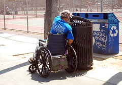 (Nick Leonard) Tags: california people man hat losangeles sad wheelchair nick streetphotography depression venicebeach garbagecan trashcan hardtimes nickleonard roughtimes