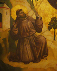 Giotto, St. Francis of Assisi Receiving the Stigmata, c. 1295-1300 with detail of FrancisStigmata
