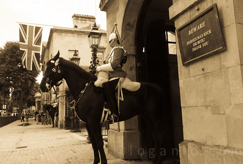 Man on horseback in London.