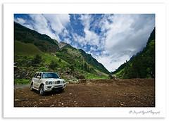 (Divs Sejpal) Tags: road blue trees red sky india white mountains color colour green car clouds landscape nikon angle altitude wide suv ladakh divs divyesh sonmarg divssejpal sejpal d7000 sigma816 dcs0261jpg
