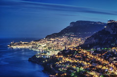 Monaco at Night HDR (aryapix) Tags: blue sea france alpes nice riviera monaco hour menton mediteranne