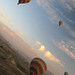 Four hot air balloons in flight over Cappadocia, Turkey