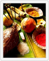 Puja (shubhangi athalye) Tags: light india lamp fruits religious worship rice coconut indian pomegranate banana symbols hindu turmeric puja incense vermilion sweetlime diya oillamp bananaleaf kumkum agarbatti gandha