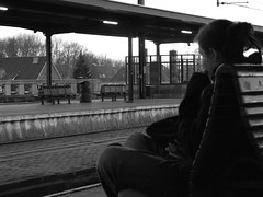 Waiting (dalila.vinci) Tags: bw white black station train belgium stazione gent nonluoghi nonplace nonlieux