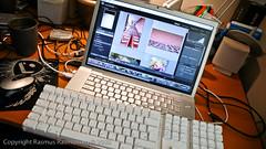 Double Keyboard Goodness (Rasmus Rasmussen) Tags: leica mac laptop snapshot workspace keyboards 2008 clutter dlux3 macbookpro