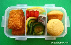 Fried fish bento lunch for preschooler (Biggie*) Tags: food cheese kids children lunch kid lemon toddler child bento cornbread zucchini courgette bellpepper packedlunch schoollunch biggie lemonslices brownbag preschooler lunchinabox filletoffish redbellpepper fishstick sacklunch cheesetriangles minimuffin bentoblog brownbaglunch cornbreadmuffin ssbiggie lunchinaboxnet twittermoms
