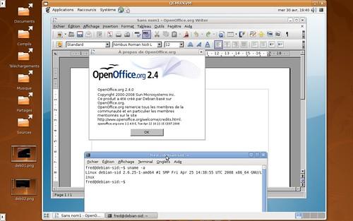 Openoffice.org 2.4 sous Debian Sid avec un noyau linux 2.6.25