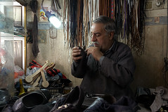 Shoemaker At Work (kamshots) Tags: street work iran amir tehran cobbler shoemaker shahid tajrish kamshots darbandi
