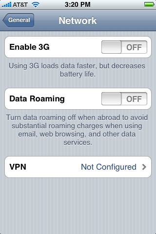 Enable Iphone 3G Setting