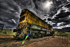 rainbow train (@!ex) Tags: old urban panorama foothills west color abandoned grass clouds america train vintage landscape colorado industrial pentax antique wideangle denver boulder irony handheld junkyard hdr railroadtracks aficionados sigma1020mm supershot rockyflats k10d pentaxk10d diamondclassphotographer flickrdiamond alexbenison