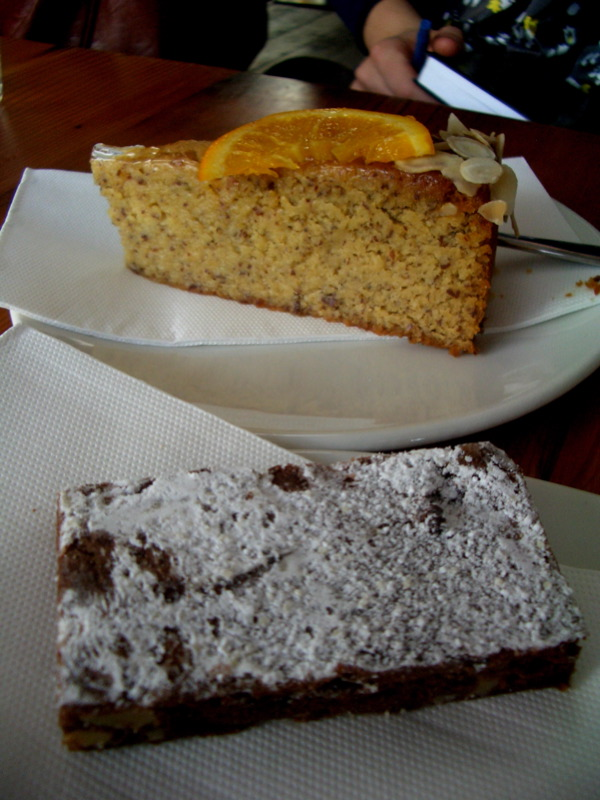 Flourless orange cake and brownie