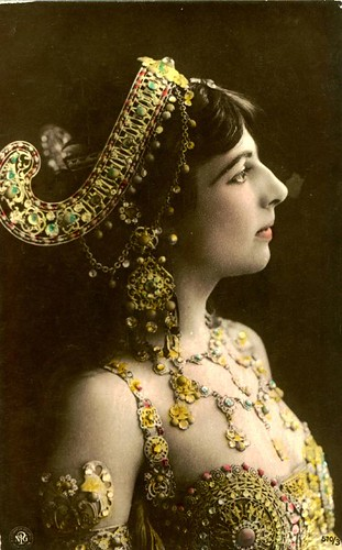 Dutch oriental dancer Mata Hari on vintage postcard