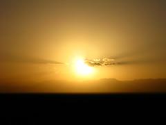 Sunset east of Shanshan over the Tianshan mountain range as seen from National Highway 312, Xinjiang, China