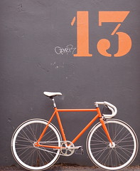 My new fixie (fanz) Tags: sanfrancisco dublin orange white bike bicycle d50 drops gear mission fixed fixie fixedgear 13 iro saddle markv 50mmf18 missionbicycles