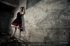 Sherona (jasongrover.com) Tags: red portrait canada black fashion dark model gothic tunnel creepy regina saskatchewan noise lightroom sherona strobist