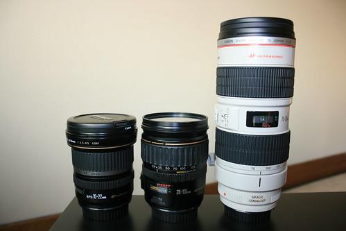 10-22mm, 28-135mm, 70-200mm