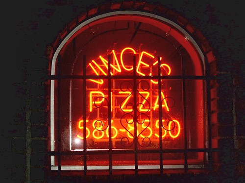 Vince's Pizza window neon sign. Chicago Illinois. Febuary 2008. by Eddie from Chicago