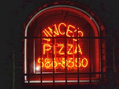 Vince's Pizza window neon sign. Chicago Illinois. Febuary 2008.