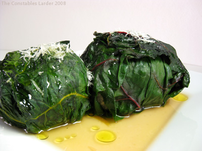 risotto stuffed in chard leaves
