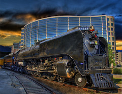 UP 844 Visits the DNC (Thad Roan - Bridgepix) Tags: railroad sky building up train photoshop colorado tracks rail railway ps denver historic steam explore locomotive traintrack dnc obama railfan hdr democraticnationalconvention 844 railfanning photomatix 200808