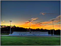 Sunrise (youneverknowphotography) Tags: california morning trees sky usa senior beautiful grass clouds sunrise canon landscape outside lights early football nice pretty track outdoor stadium class powershot adobe 09 excellent norcal bleachers lovely northern visitor hdr turf picnik lightroom g7 tonemapped
