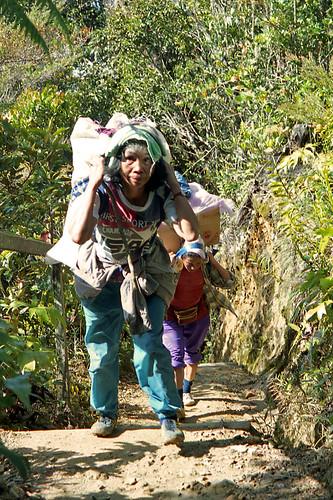 WOMAN PORTER with SUPPLIES for LABAN RATA, Mount Kinabalu Hike, Sabah, Borneo, Malaysia