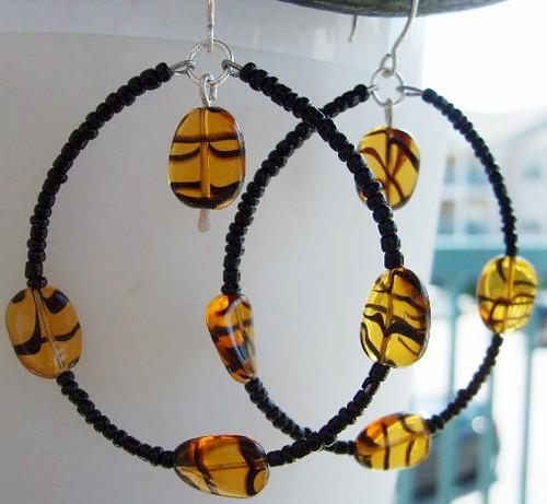 Sold-Funky Beaded Hoops Earrings