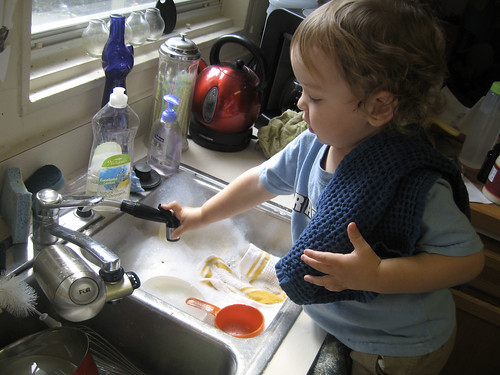 "helping ""wash"" dishes"