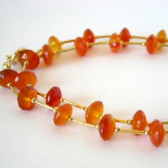 Brazillian Carnelian and 12ct goldfill necklace