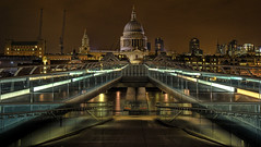 St Paul's (dylanpd) Tags: lighting bridge light red england brown house green london english church lines st composite thames night photoshop river paul high long exposure quiet fuji cathedral suspension hill pedestrian pauls millennium finepix pro multiple blade mansion baroque desolate s3 range bishop hdr combined ludgate apostle 3xp photomatix dyamic yweb