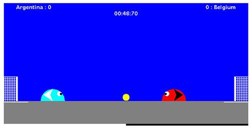 Captura del Slime Game de fútbol, World Cup Soccer con un partido entre Argentina y Bélgica