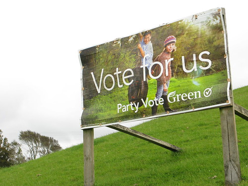 New Zealand Green Party banner on the way to Raglan, New Zealand