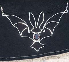bat pendant 002 (leespicedragon) Tags: original art silver handmade oneofakind ooak magic gothic bat jewelry handcrafted sterling spiritual magical forged pendant garnet pendants sterlingsilver marvinleebillings halloreen