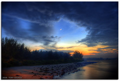 Chandrakala (Tony George) Tags: sunset sea moon reflection beach clouds dusk tide low shore punggol hdr