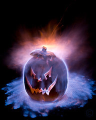 How to light a Jackolantern ( KristoforG) Tags: blue light halloween pumpkin fire hawaii jackolantern flame pumpkincarving pyro 2008 gellert kristofor