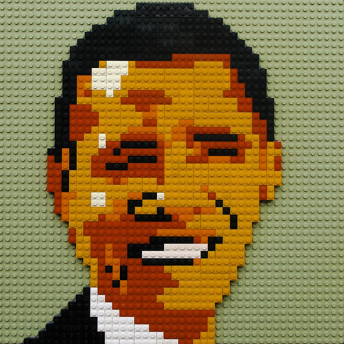 Obama portrait mosaic in LEGO