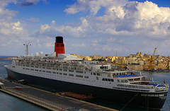 QE2 (albireo2006) Tags: cruise blue winter sea wallpaper wow harbor mediterranean ship waterfront harbour background ships cruising malta queenelizabeth2 cunard qe2 qeii queenelizabeth liner valletta grandharbour v18 justpentax pentaxart valletta2018