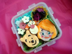 """My Friends Tigger and Pooh"" bento (LoveBones) Tags: bear flowers food orange black colors girl cheese turkey toddler rice tiger sandwich disney darby pooh olives bento tigger mortadella"
