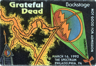 Grateful Dead backstage pass for 3-16-92 The Spectrum, Philadelphia (from www.psilo.com)