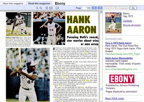 Hank Aaron Article In Ebony