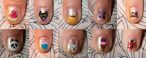 Colorful cute nails design collection idea